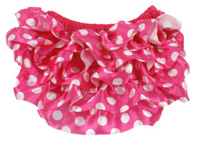 Hot Pink with White Dots Satin Diaper Cover