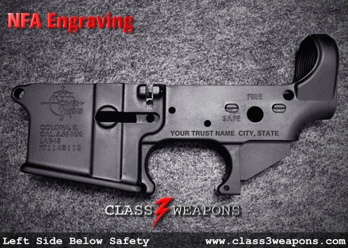NFA Engraving Left Side Below Safety Selerctor