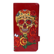 Calavera Sugar Skull with Roses - Large Zipper Wallet