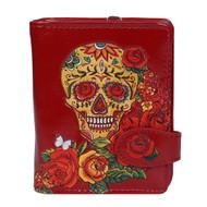 Calavera Sugar Skull with Roses - Small Zipper Wallet
