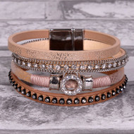 Brown Embellished - Wrap Bracelet