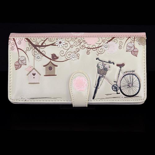 "Vintage Postcard ""Let's Go For A Ride"" - Large Zipper Wallet"