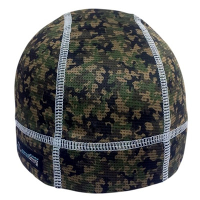 Skull cap in camo fabric with grey stitching.  Absorbent brow with wicking bamboo ultra lightweight fabric keeps sweat from dripping in your eyes.