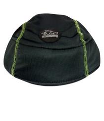 Bike Helmet Liner - Black with Lime Green stitching