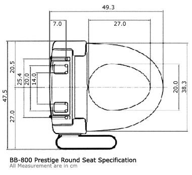 Bidets2go BB-800 Product Dimensions