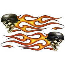 Flaming Biker Tribal Skulls Decals
