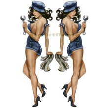 Brunette Mechanic Pin-Up Girl Decals