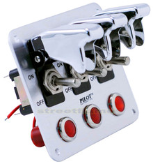 3 Toggle Switch Panel - Chrome (Pilot)