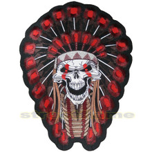 Tribal Indian Chief Skull Patch - Large