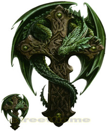 Green Dragon on Cross Decals by Anne Stokes
