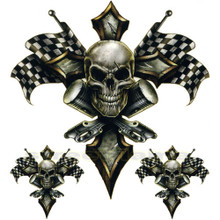 Racing Gold Cross Skull with Checkered Flags and Pistons Decals