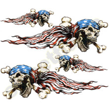 US American Flag with Patriotic Biker Skulls Decals