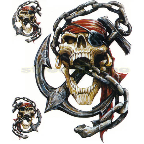 pirate skull with anchor and chain decals streetflame