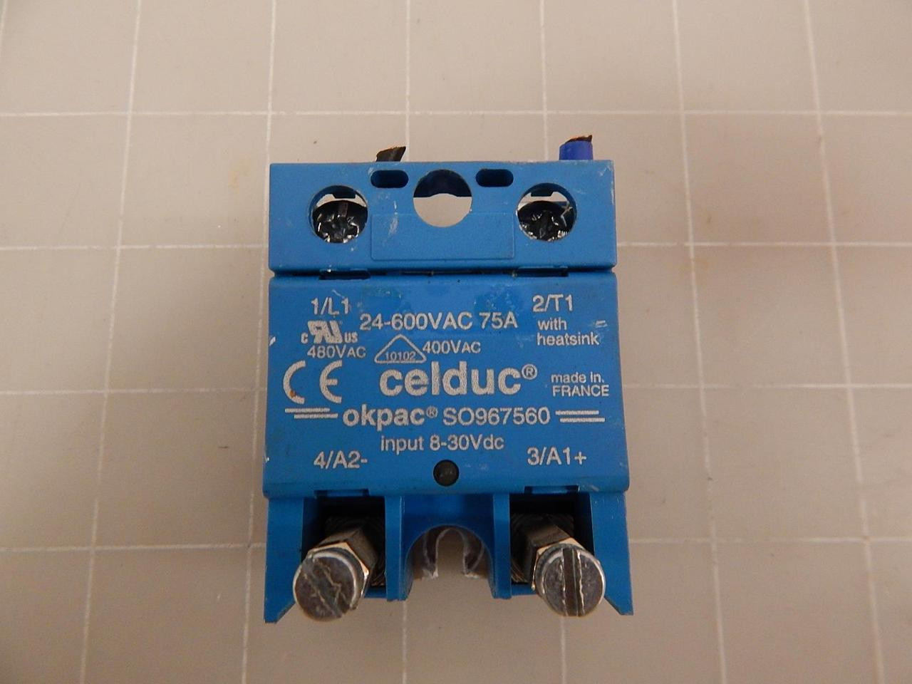 Okpac So967560 Solid State Relay 24 600vac 75a T60266 Test Celduc Image 1