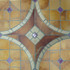 """Decorative tile """"Vitreaux"""" - 100 x100cm - Glazed in ocres, brown and purple."""