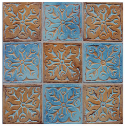 "Decorative tile ""Tacos kashmir"" - 10x10cm - glazed in crystalline ocre and matt blue."