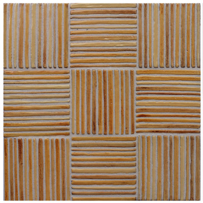 "Decorative tile ""Tacos mimbre"" - 10x10cm - glazed in crystalline ocre tones."