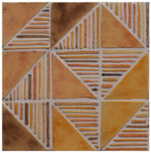 "Decorative tile ""Tacos Nadezhda"" - 10x10cm - glazed in crystalline ocre tones."
