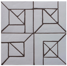 "Decorative tile ""Senegal"" - 20 x 20cm - Glazed in satin white."
