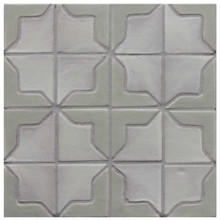 "Decorative tile ""Tacos Syria"" - 10x10cm - Glazed in satin kaki green and matt white."