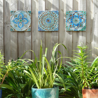 3  Hanging Wall Tiles Turquoise 30cm