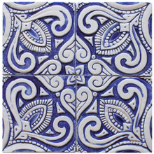 decorative tile - susama - blue & white [15cm]