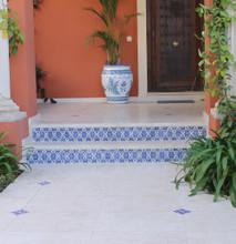 Handmade tile - exterior mandala steps