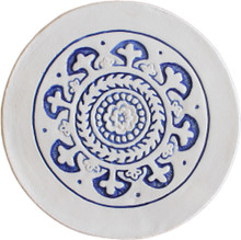 suzani wall art with plain border blue [21cm]