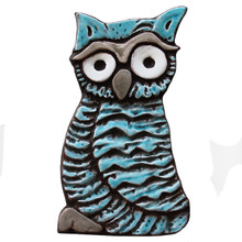 Owlet wall art - large turquoise (19.5x11cm)