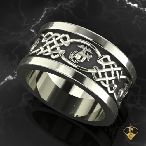 United States Marine Corps Celtic Wedding Band Available In Sterling Silver 10k 14k And