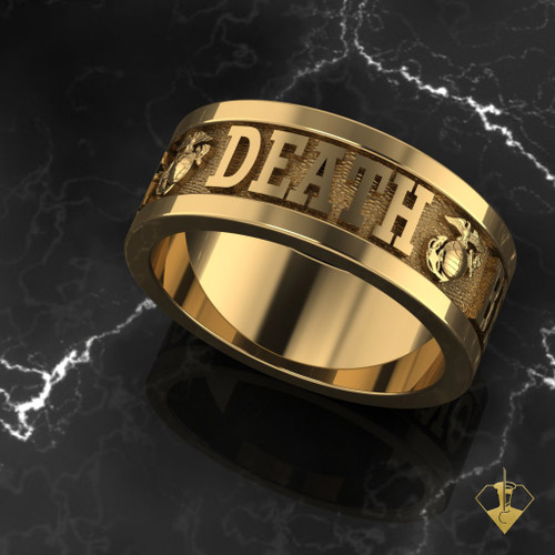 Usmc Death Before Dishonor Gold Marine Ring