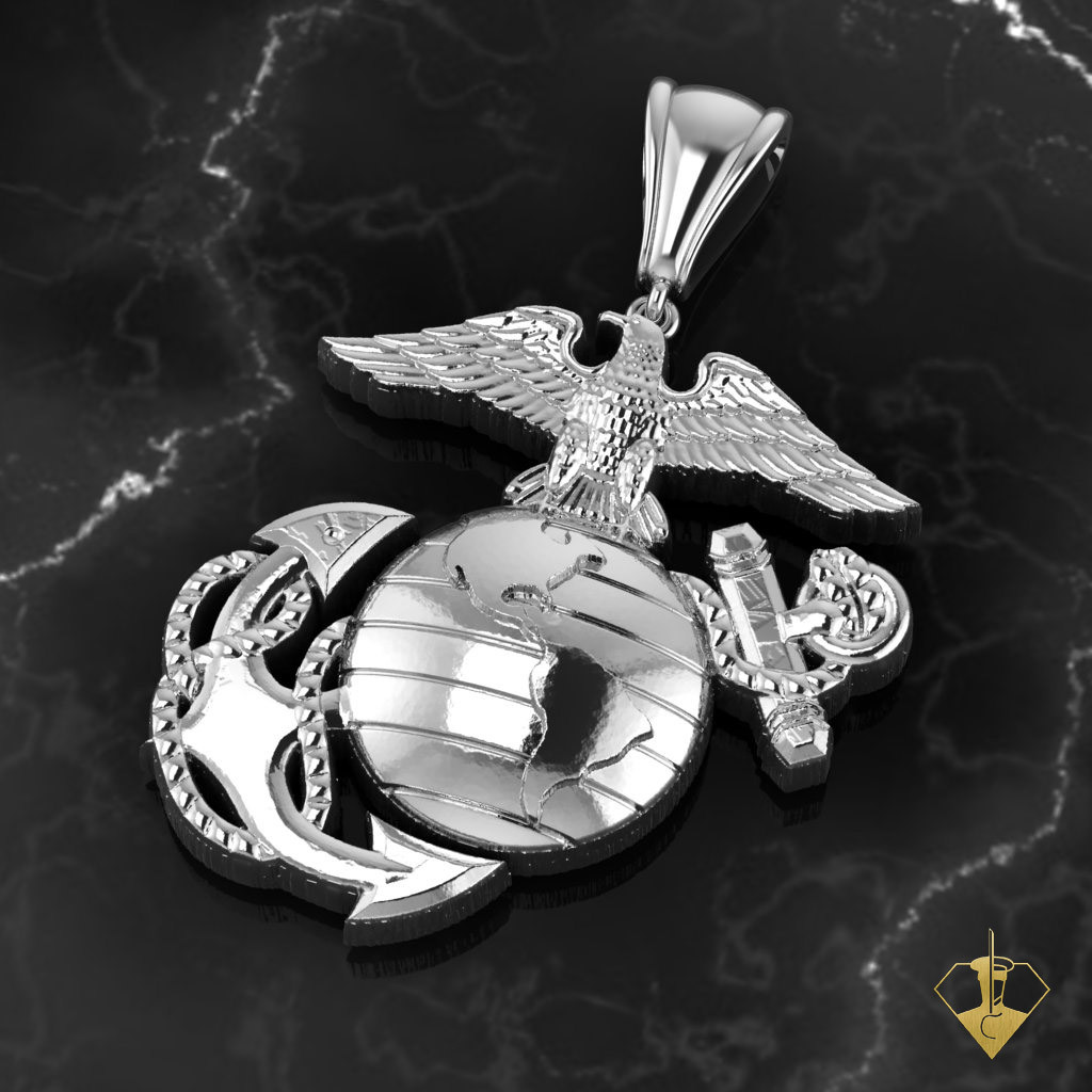 Usmc Eagle Globe And Anchor Necklace With Rope Chain