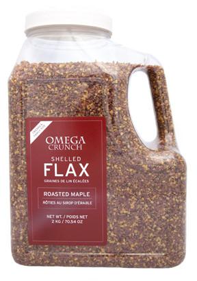 Plastic jug of Roasted Maple shelled flaxseed .