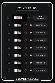 Paneltronics 9992203 DC 7 Position Circuit Breaker Marine Panel w/ Main