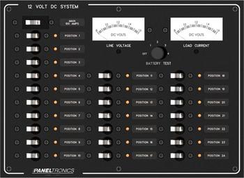 Paneltronics 9993205 DC 24 Position Circuit Breaker Marine Panel w/ Main and Meters
