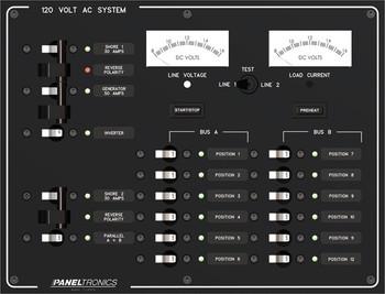 Paneltronics 9993309 AC 12 Position Circuit Breaker Marine Panel w/ Dual Shore/Gen & Inverter Mains w/ Meters