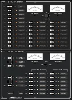 Paneltronics 9993404 24 DC Position w/ Main & 12 AC Position Circuit Breaker Marine Panel w/ Dual Shore Mains and Gen Main