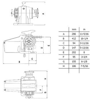 Lofrans Windlass - Tigres- LW415AN -Dimensions.