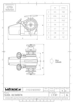 LW500ANDG Dual Gypsy Dimensional Drawing