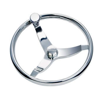"""13 1/2"""" Thirteen And A Half Inch Vision Elite 316 Cast Stainless Steel Steering Wheel with Press Fit Control Knob Delrin Bearing 7161321FGK-3 - 3/4"""" Three Quarter Inch Tapered Shaft - Stainless Center Nut - 22 Twenty Two Degree Of Dish"""