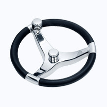 "13 1/2"" Thirteen And A Half Inch Evo Pro 316 Cast Stainless Steel Steering Wheel with Glass Ball Bearing Knob Center Nut Sold Separately 7251321FGK - 3/4"" Three Quarter Inch Tapered Shaft - N/A Spoke Size - 22 Twenty Two Degree Of Dish"