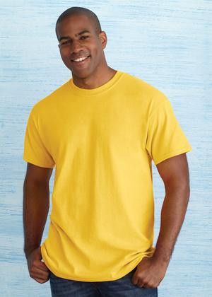 """2000 GILDAN®   ULTRA COTTON®   T-SHIRT. 2000   Fabric/Style: 10-oz, 100% cotton preshrunk jersey knit 7/8"""" rib knit collar Taped neck and shoulders Quarter-turned Meets ANSI/ISEA 107 high visibility compliance * 99/1 cotton/poly ** 90/10 cotton/poly *** 50/50 cotton/poly   2014 Catalogue pages 112, 214   Adult sizes S-5XL"""