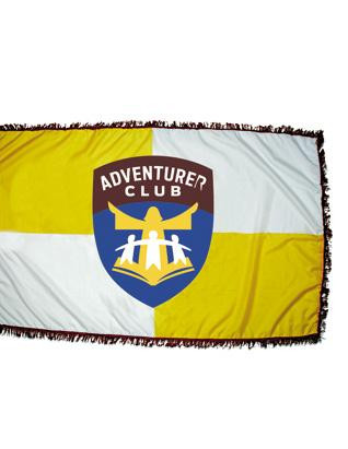 NEW LOGO FLAG Use this flag in your club room, church, parade or display. It is three feet by five feet with the brilliant colors of the Adventurer logo. The church and parade flag has burgundy fringe.  100% nylon Pole not included