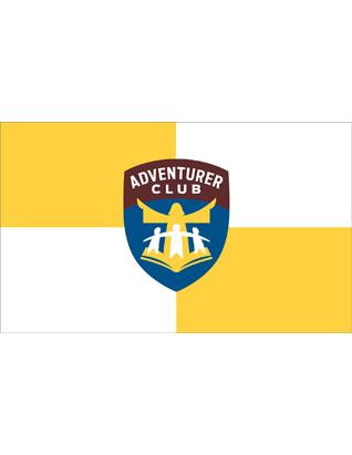 NEW LOGO FLAG Use this flag in your club room, church, parade or display. It is three feet by five feet with the brilliant colors of the Adventurer logo. The outdoor flag does not have the burgundy fringe.  Flag Size 2X3  Pole not included