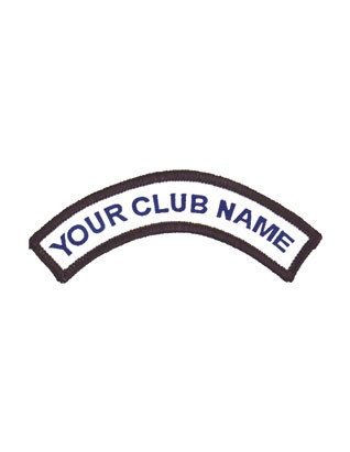 "This is a special-order item that AdventNorth Canada can embroider for your club's uniforms.  Order in dozens ONLY - $54.00/dozen. Lettering color is available only in BLUE.  1-18 letters and spaces 5"" wide  Orders will be completed within two weeks."