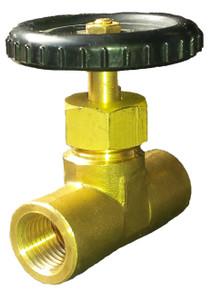 "Needle valve 1/4"" brass sterilizer input control"
