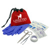 Promotional Pet First Aid Kit with Drawstring - Red
