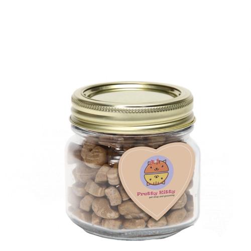 Cat Treats in Half Pint Jar with Custom Heart Magnet