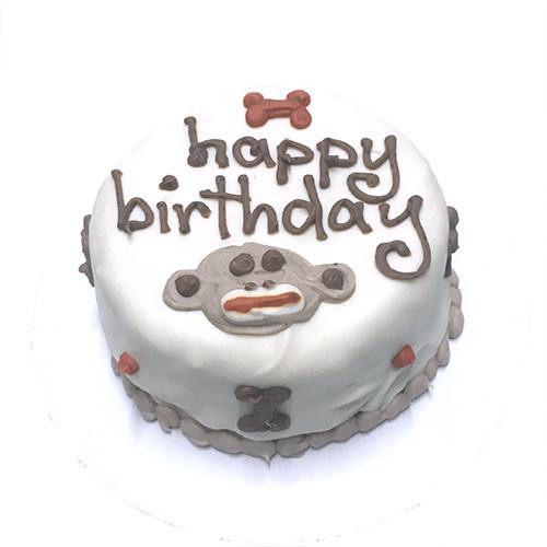 Customized Sock Monkey Themed Birthday Cakes for Dogs - Organic