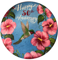 Hollyhocks and Hummingbird Stepping Stone by Holly Hanley